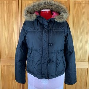 Mudd Black Jacket with Pink Lining and Faux Fur Ho